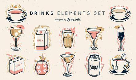 Drinks ornamented color stroke set