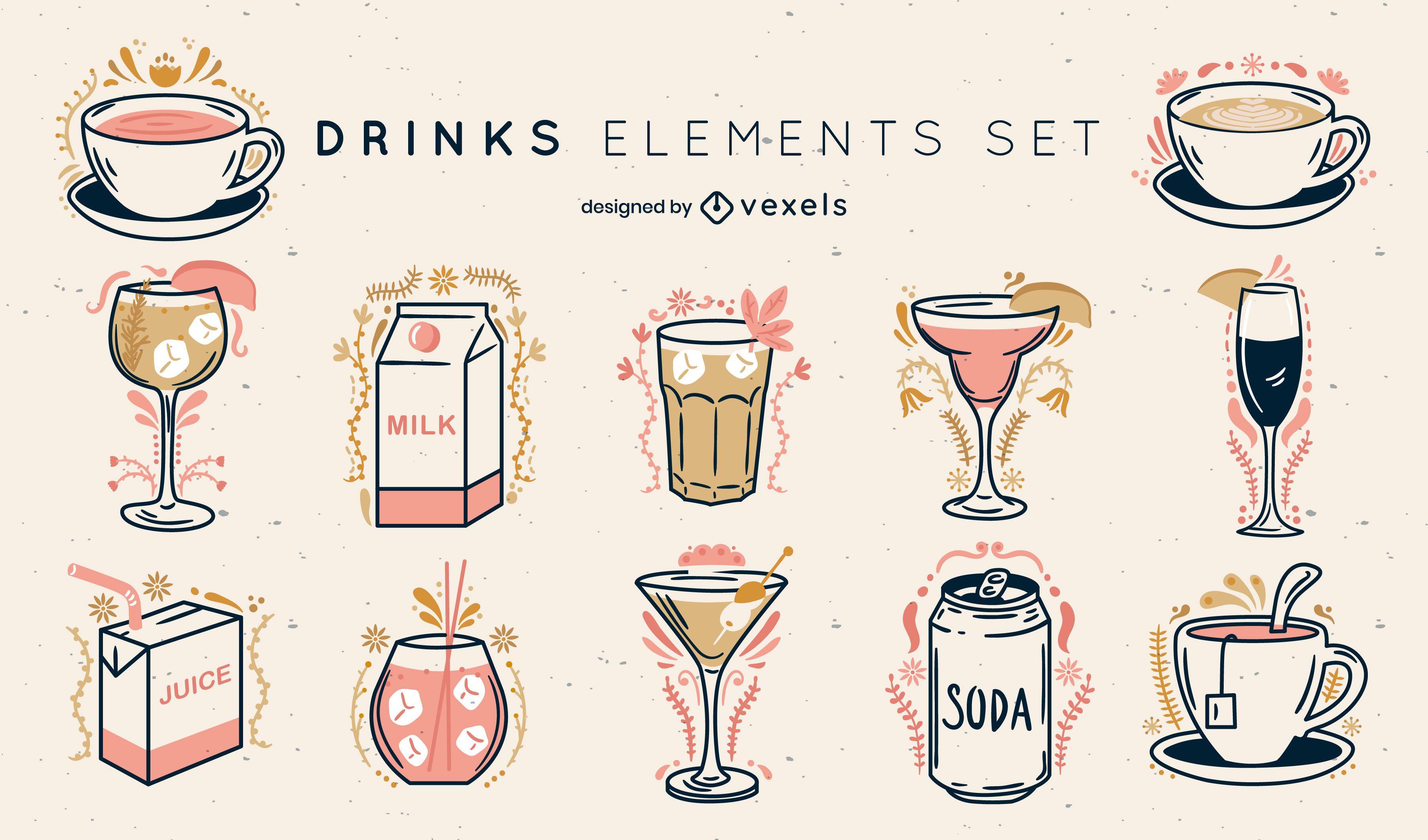 Conjunto de trazos de color adornado de bebidas.