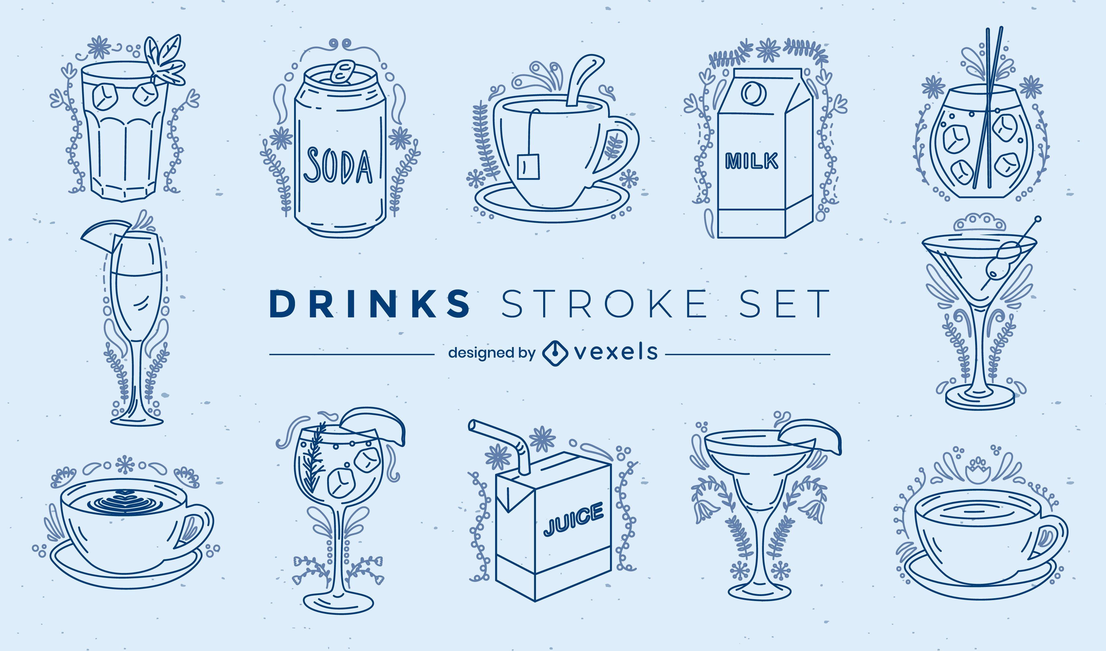 Drinks ornamented stroke set
