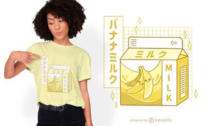 Banana milk japanese drink t-shirt design