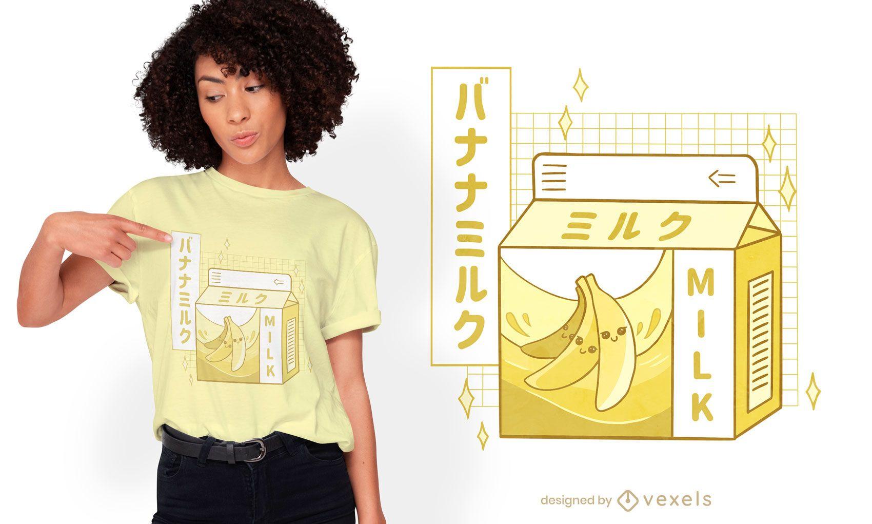 Diseño de camiseta de bebida japonesa de leche de plátano.