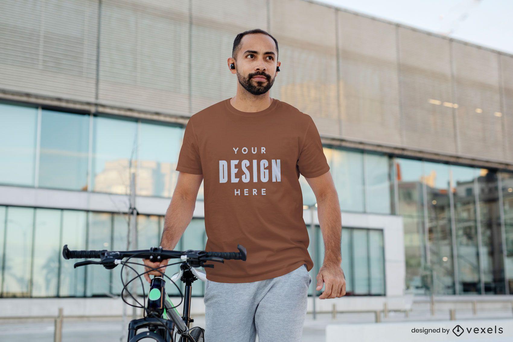 Maquete de camiseta de modelo masculino para exercícios