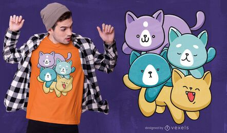 Kawaii cat family t-shirt design