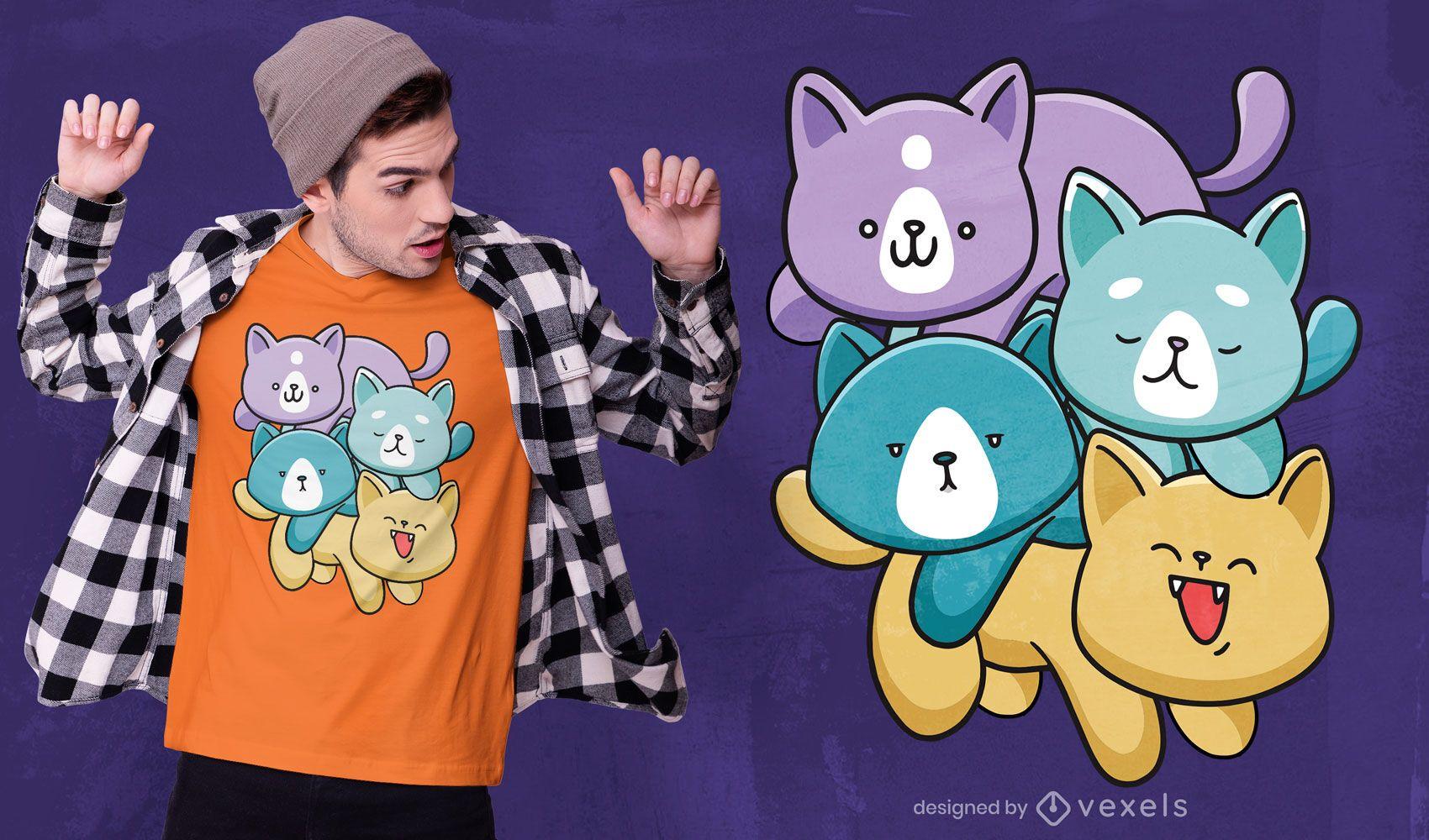Diseño de camiseta de familia de gatos kawaii