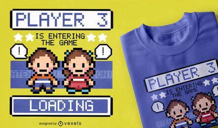 Diseño de camiseta de personajes de juegos de pixel art.