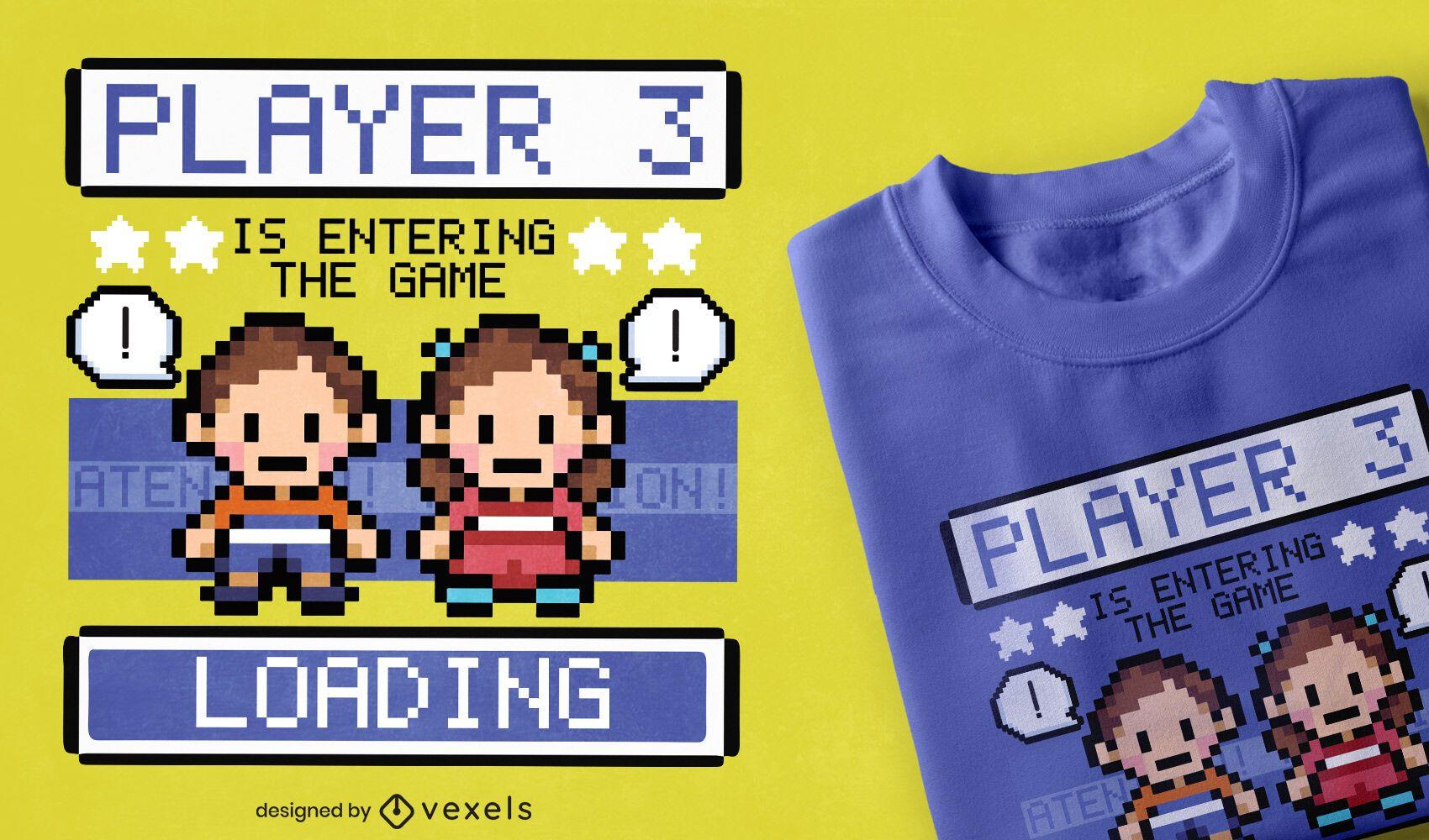 Design de camisetas para personagens do jogo Pixel art