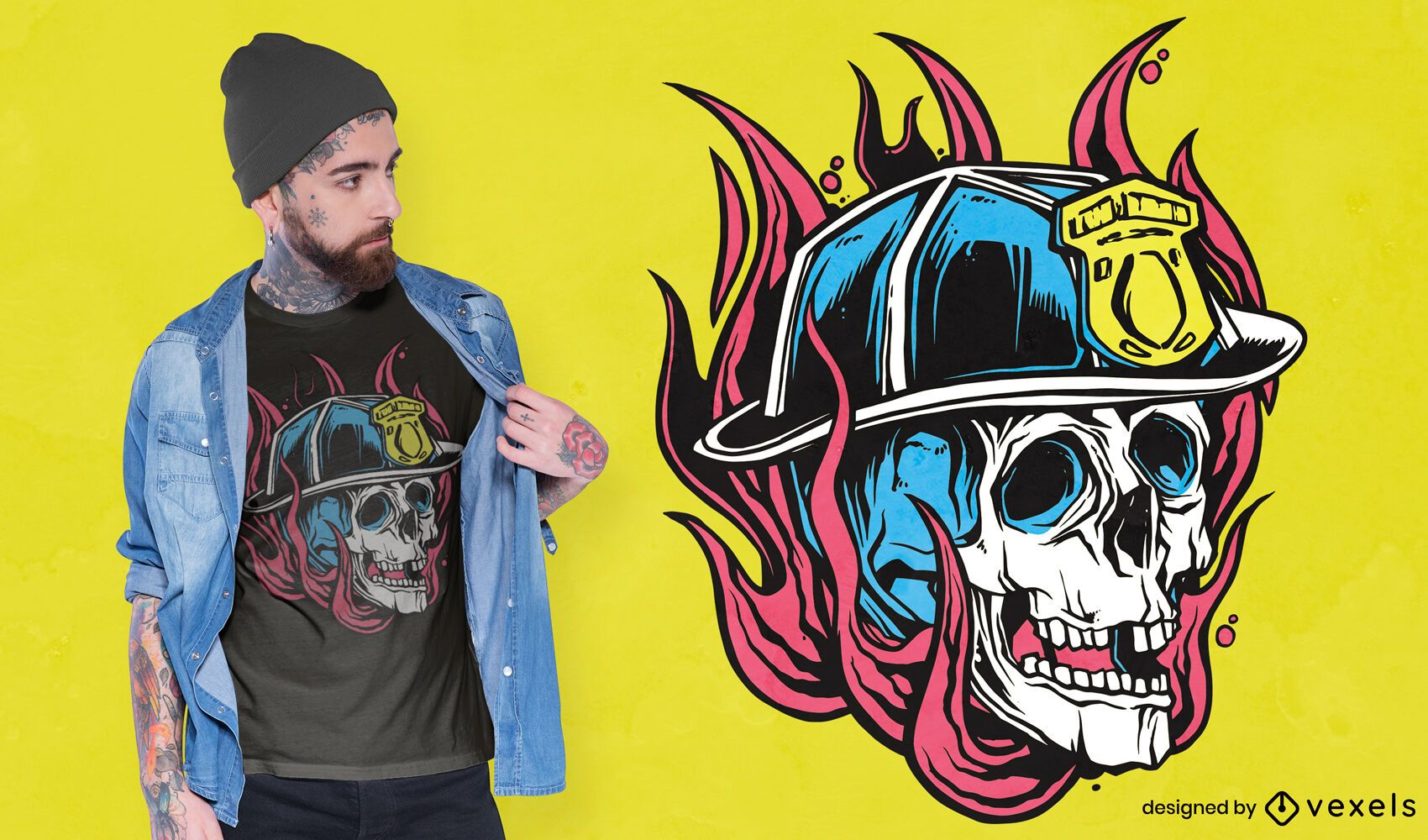 Desenho de t-shirt com ilustração de crânio de bombeiro
