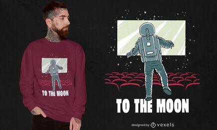 Astronauta no design de camisetas de cinema