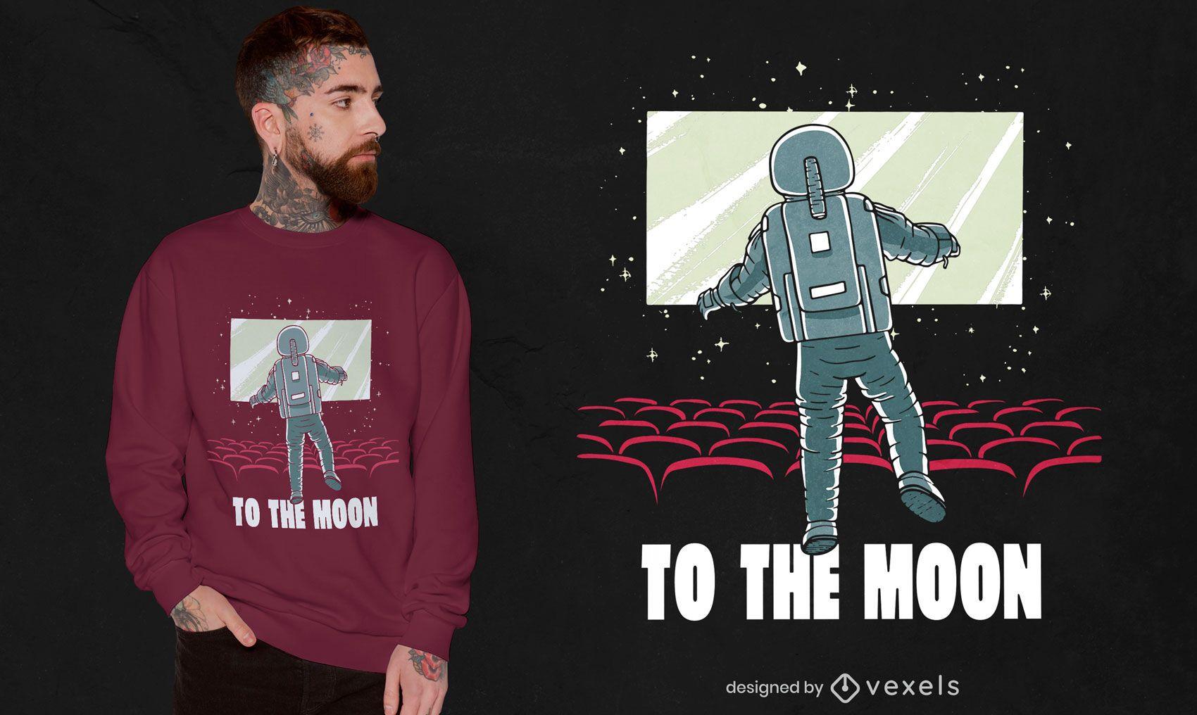 Astronaut in movie theatre t-shirt design