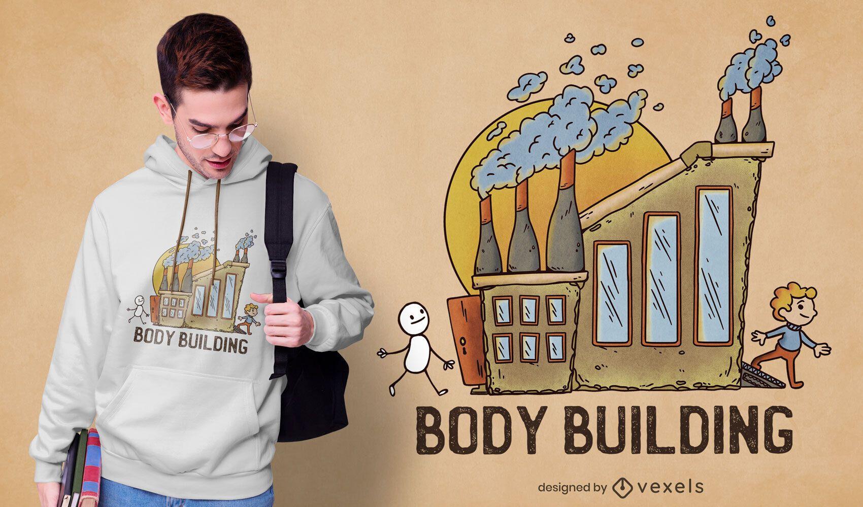 Body building factory cartoon t-shirt psd