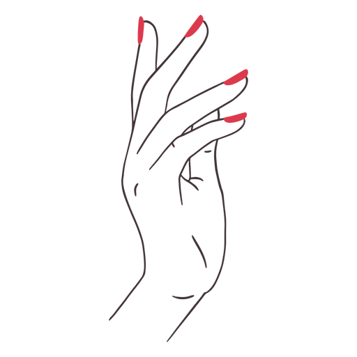 Hand with red nails color stroke