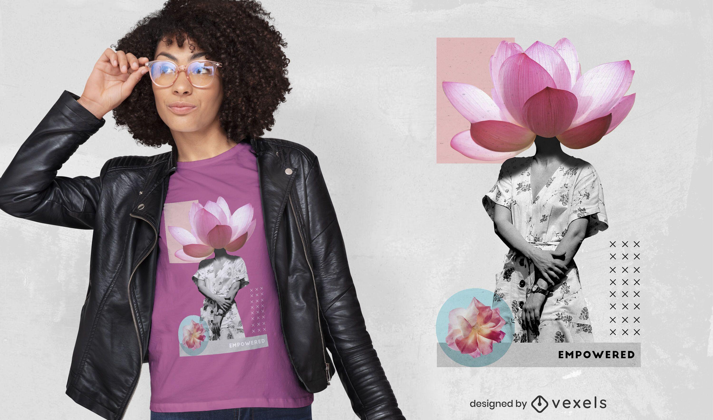 T-shirt de fotografia surreal de cabeça de flor psd