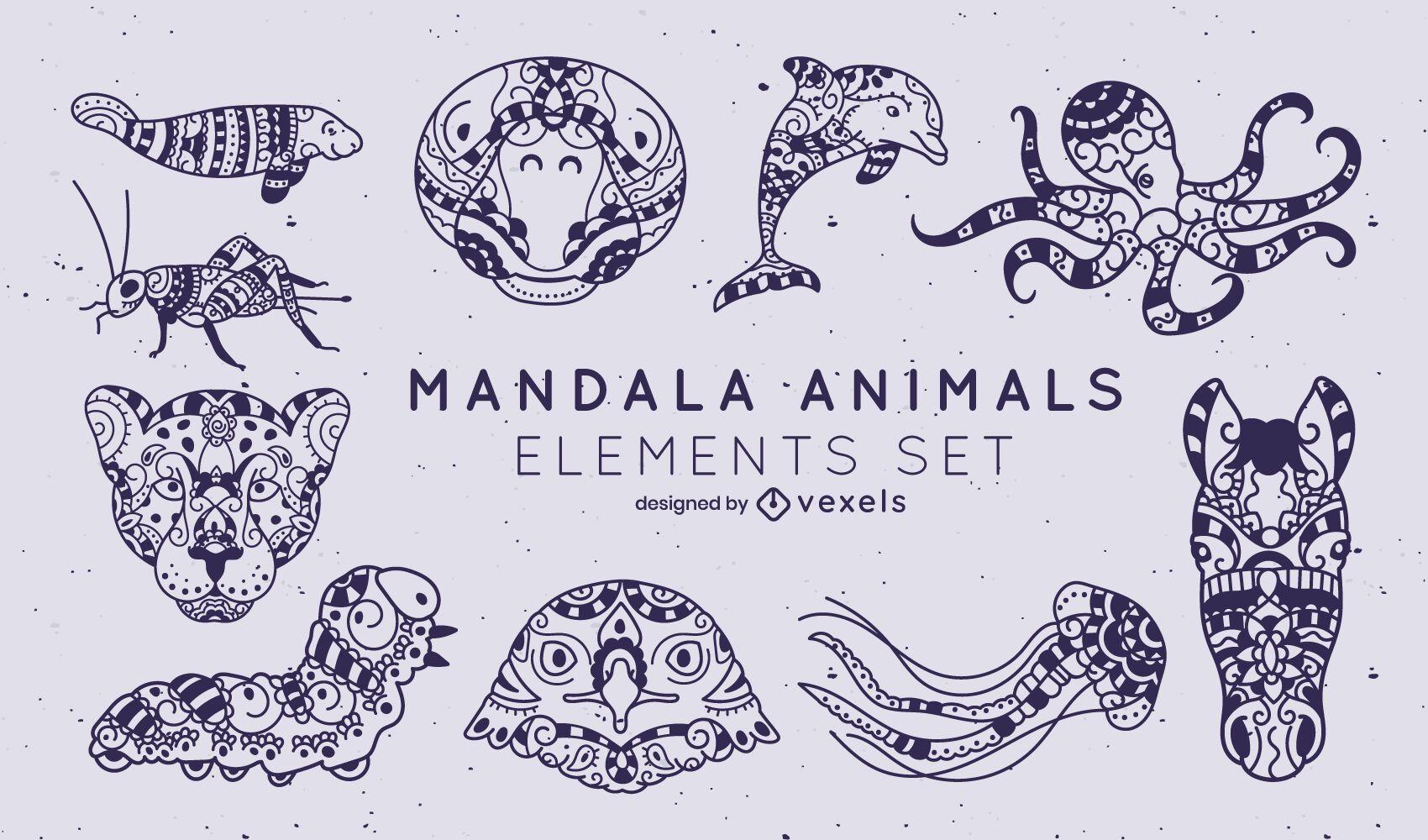 Conjunto de estilo de trazo de mandala de animales