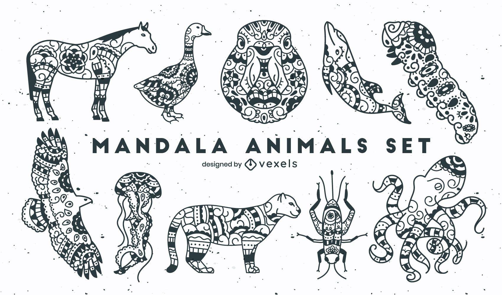 Conjunto de estilo mandala de traço de animais