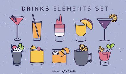 Einfache Getränke-Farbstrich-Set