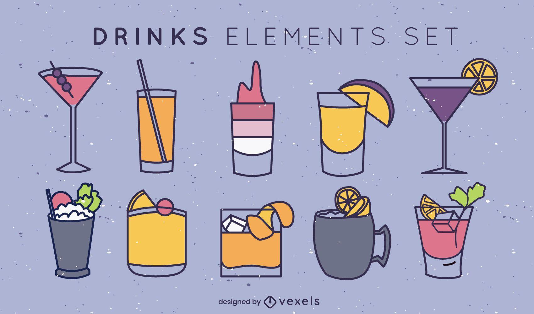 Conjunto de trazos de color de bebidas simples