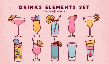 Set of simple color stroke drinks