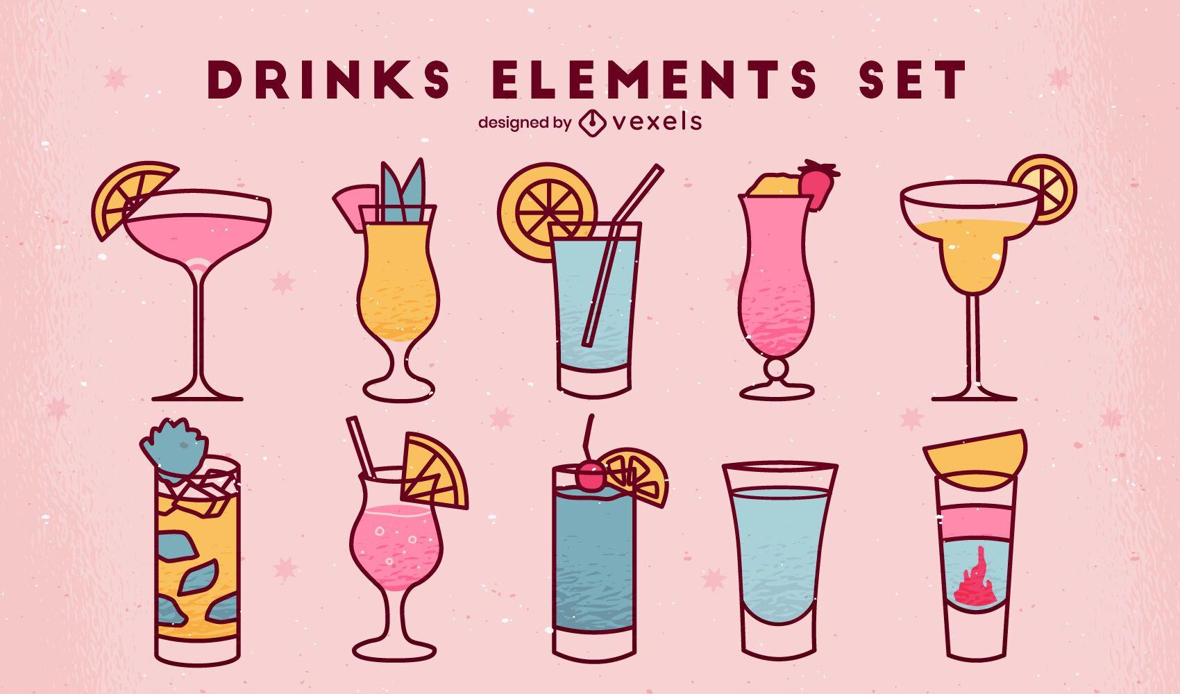 Conjunto de bebidas de trazo de color simple