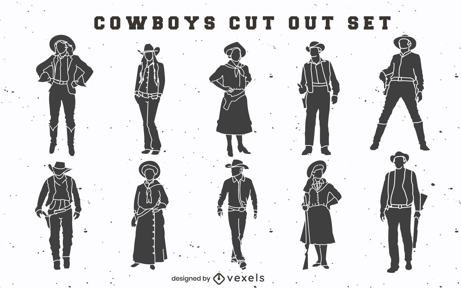 Cowboys and cowgirls cut out set