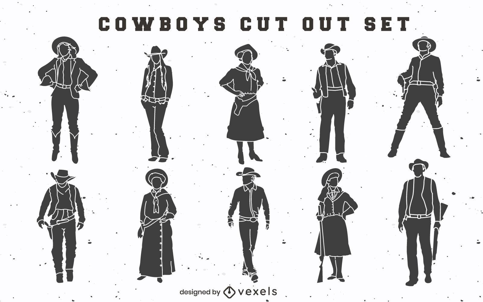 Cowboys e cowgirls cortam o cenário