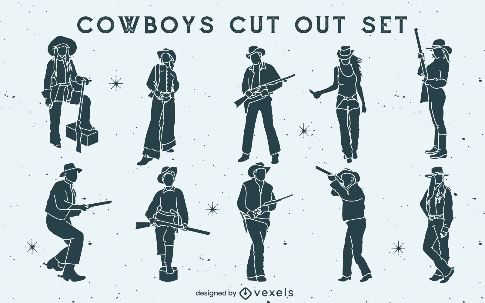 Cowboys and cowgirls with guns set cut out