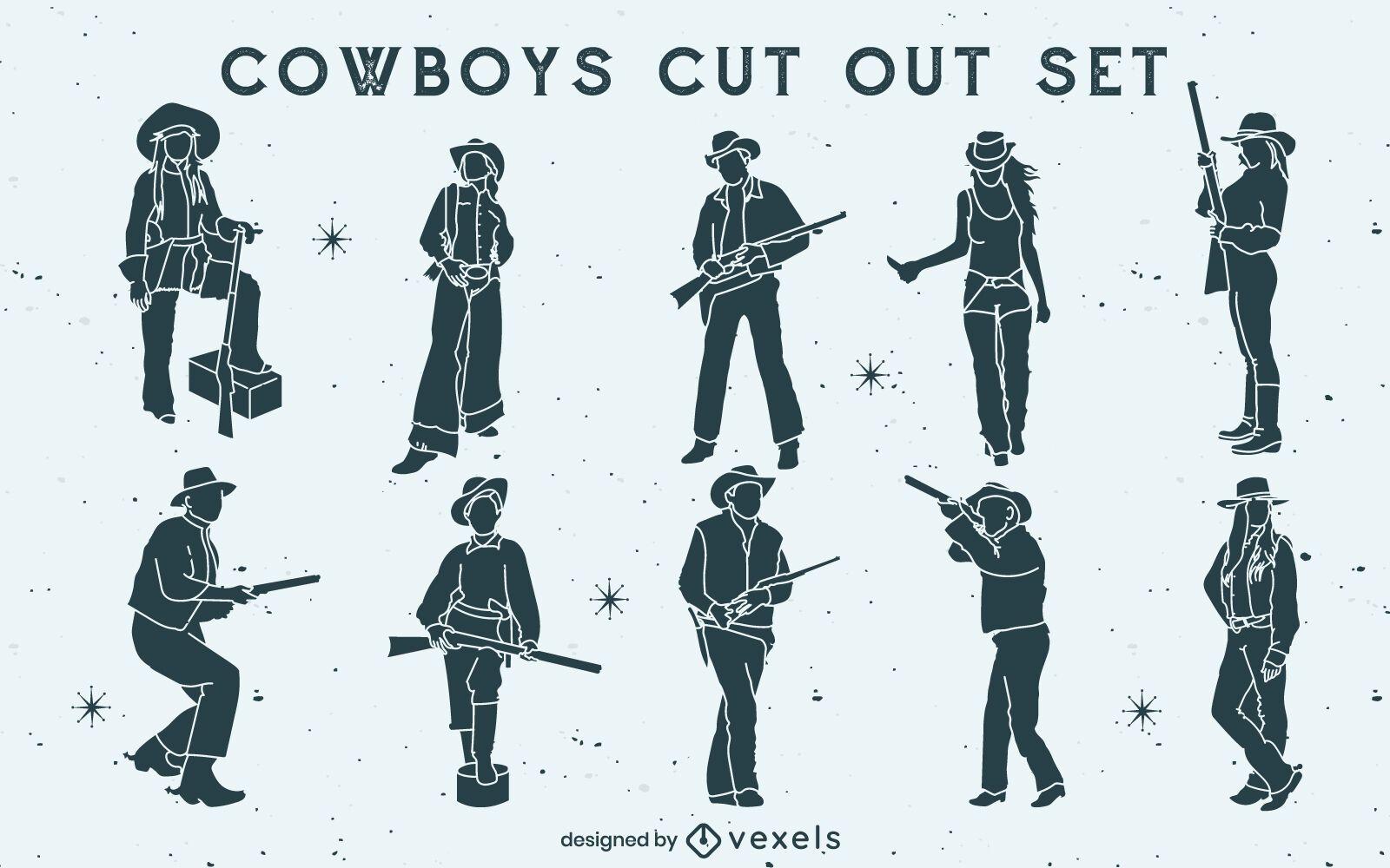 Cowboys e cowgirls com armas armadas recortadas