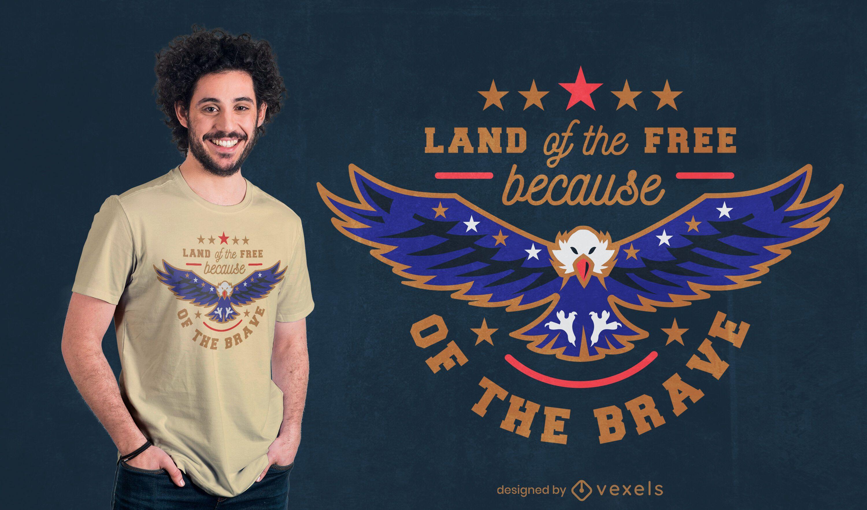 Diseño de camiseta de águila festiva del día de la independencia