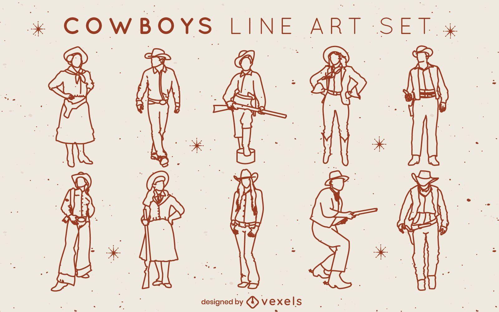 Conjunto de tacadas de cowboys e cowgirls