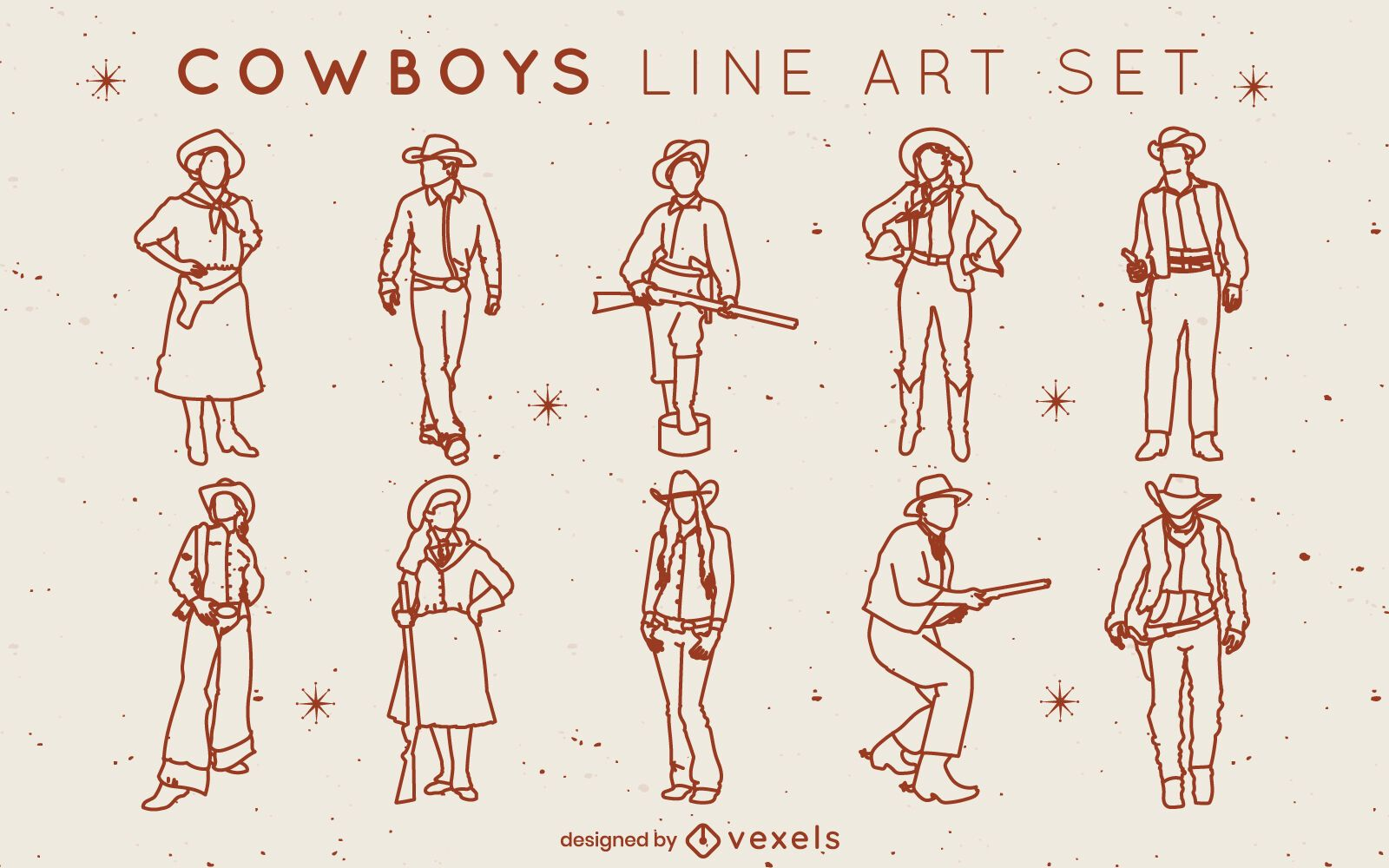 Cowboys and cowgirls stroke set