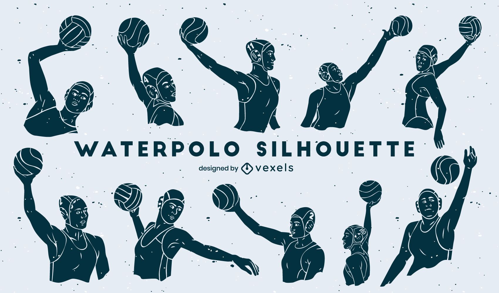 Waterpolo players cut out set