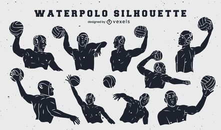 Waterpolo players set of cut out elements