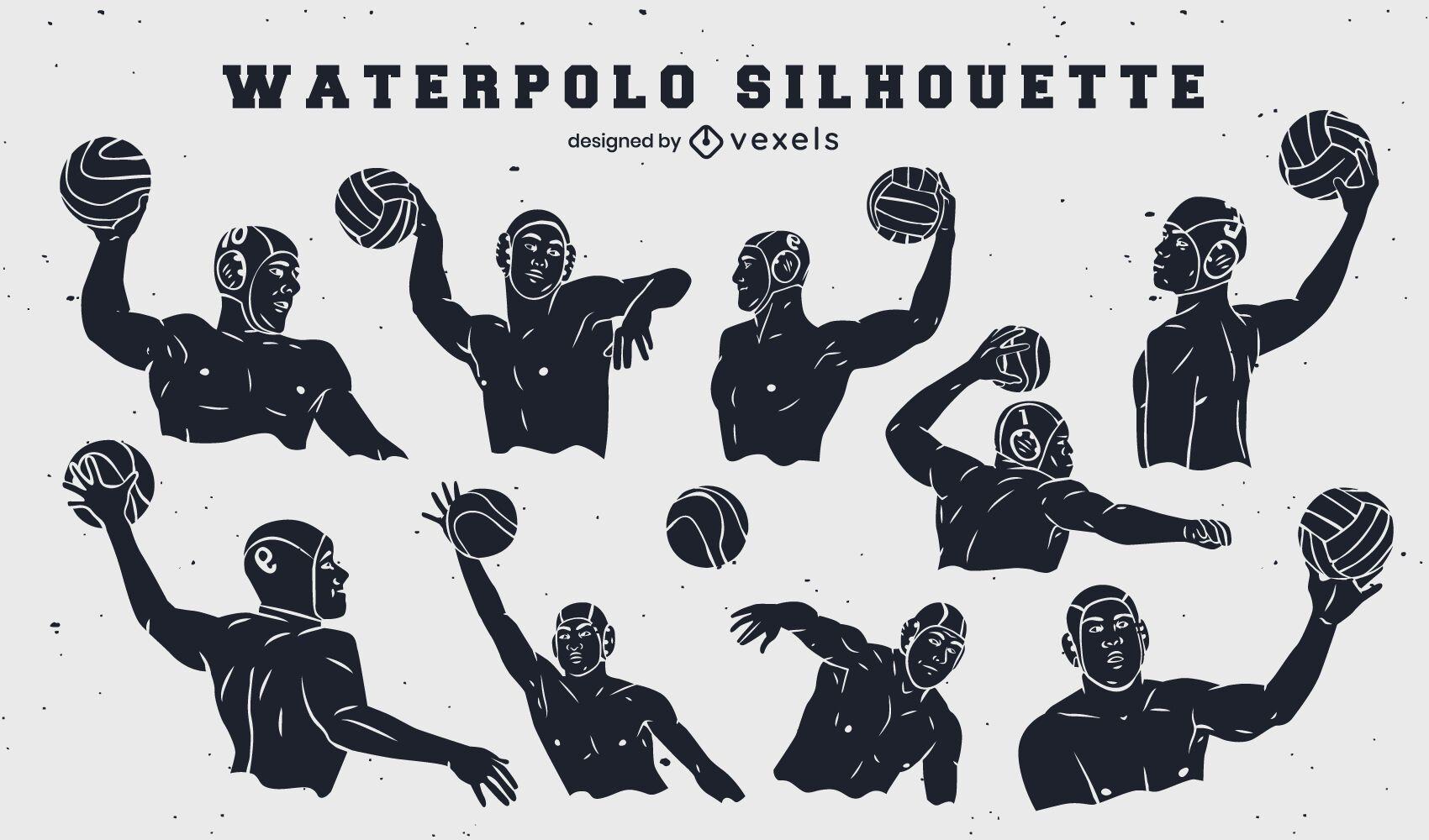 Jugadores de waterpolo conjunto de elementos recortados.