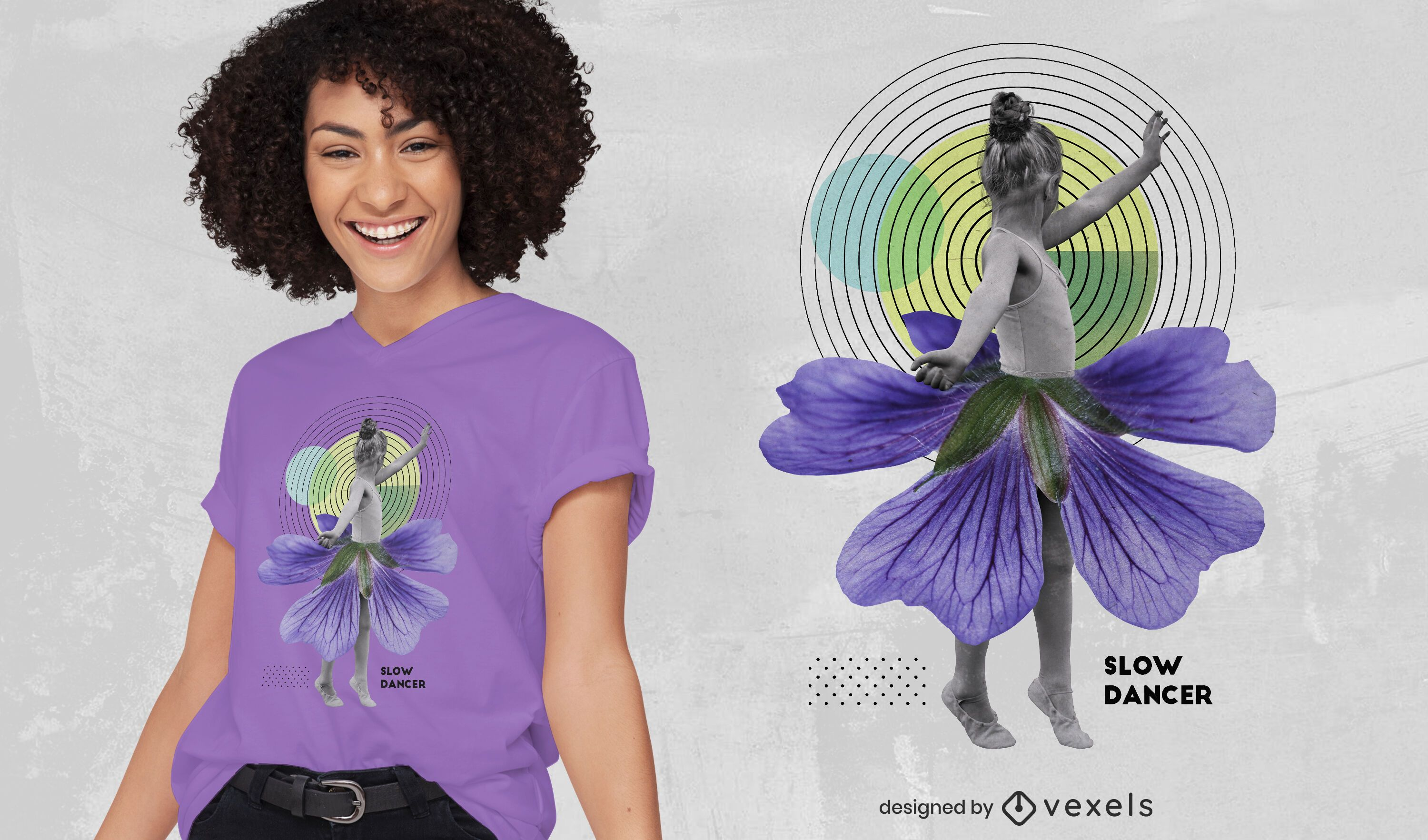 Dancing girl photography collage t-shirt psd