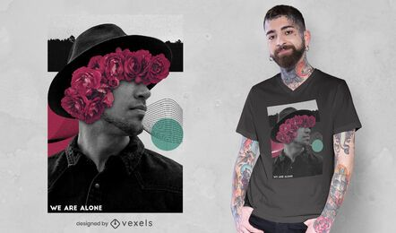Man photography floral collage t-shirt psd