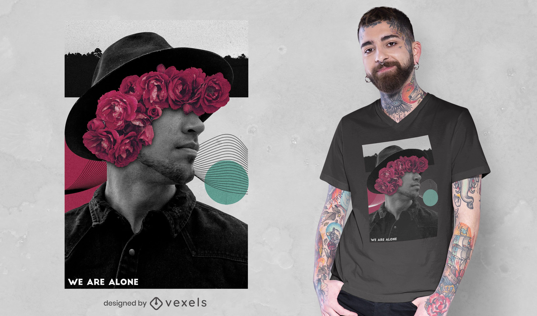 Camiseta de collage floral de fotografía de hombre psd
