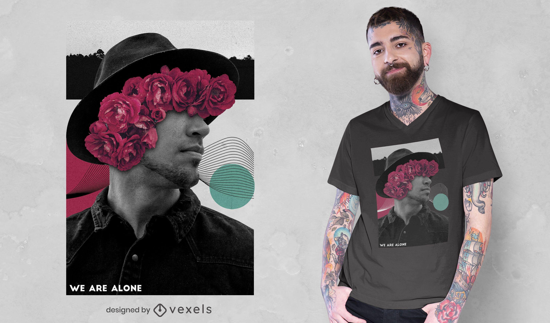 Fotografia de homem t-shirt floral colagem psd