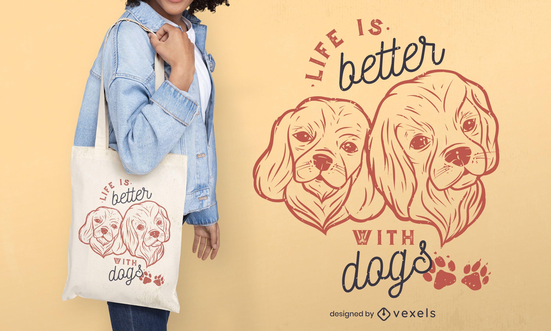 Design de sacola com citação de cachorro