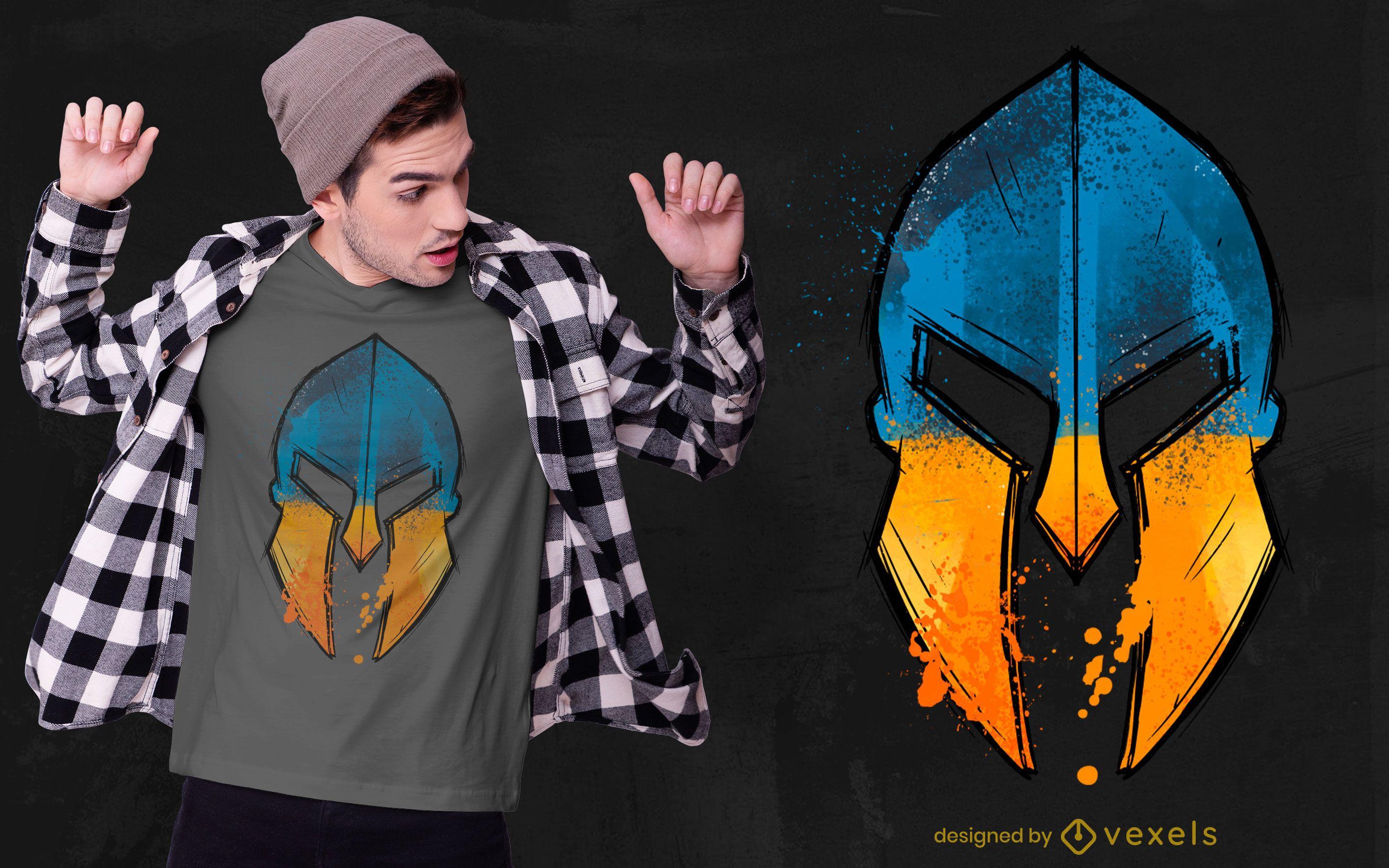 Spartaner Helm ukrainische Flagge T-Shirt Design