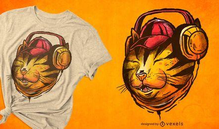 Cat with headphones illustration t-shirt design