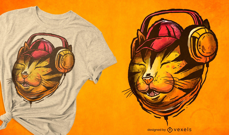 Gato com design de t-shirt com ilustração de fones de ouvido