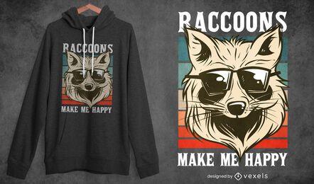 Raccoon with sunglasses t-shirt design