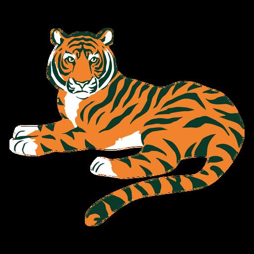 Tiger laying flat