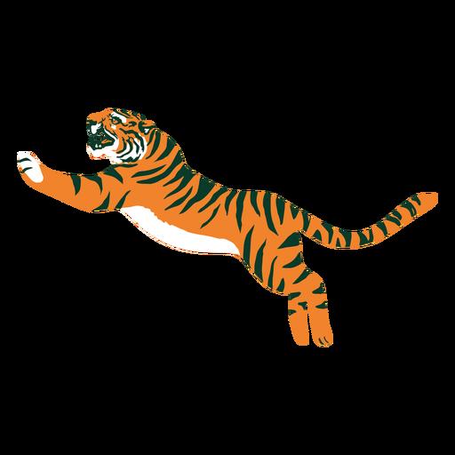 Tiger jumping flat