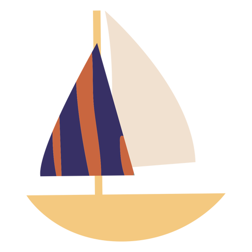 Sailboat with blue striped sali flat