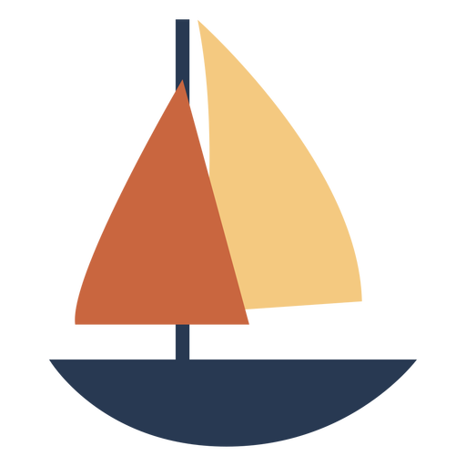 Sailboat with red sail flat