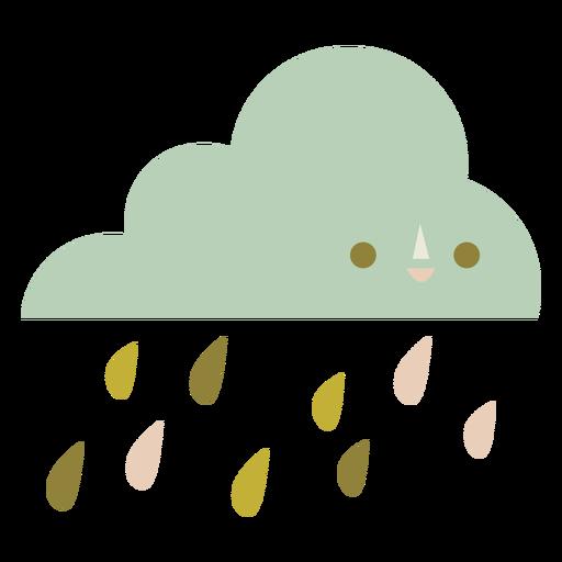 Cute cloud raining flat