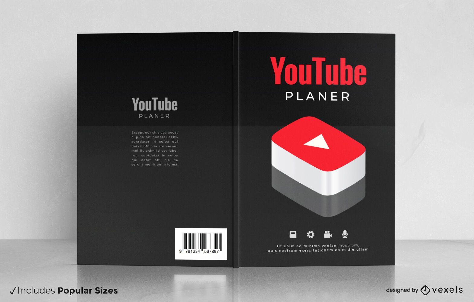 Diseño de portada de libro de planificador de videos de youtube