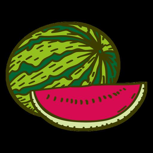 Traço de cor de fruta melancia