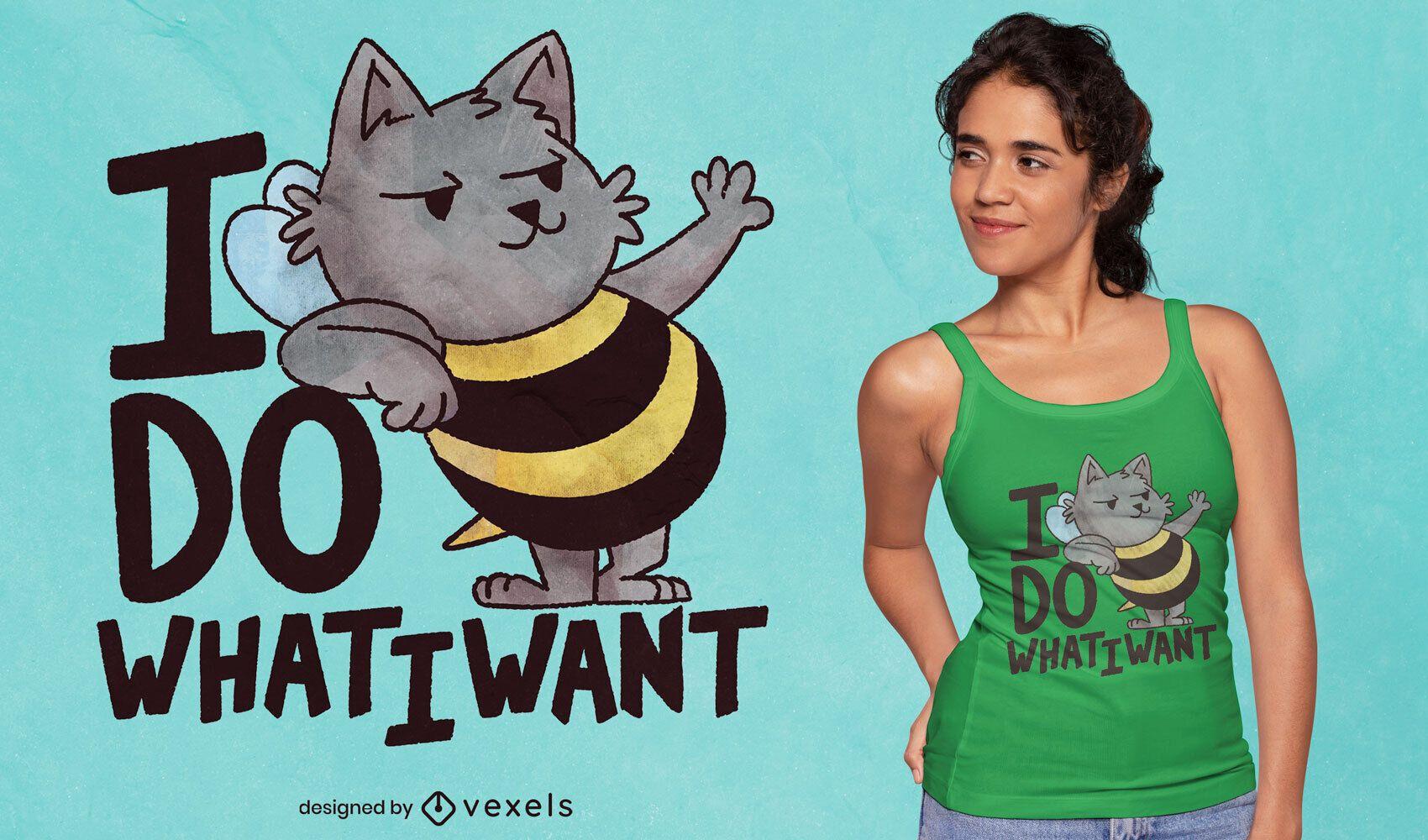 Camiseta de dibujos animados con cita de animal de abeja de gato psd