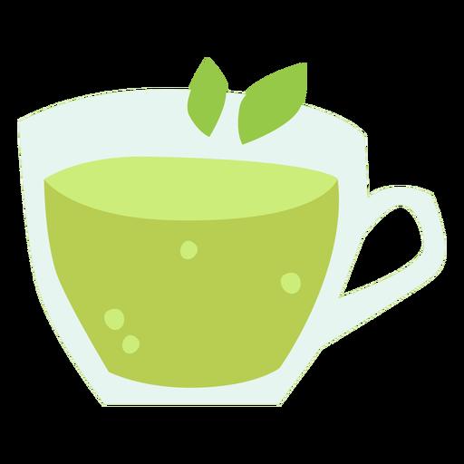 Green tea cup flat